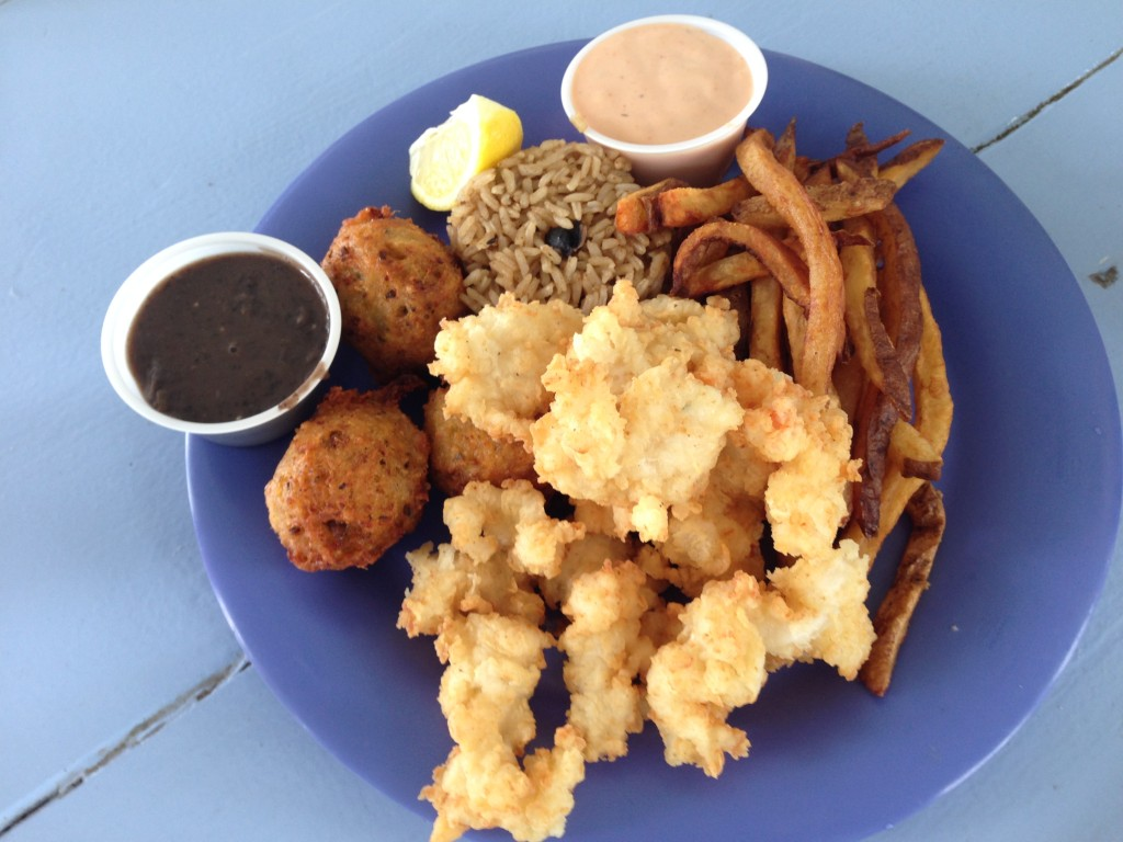 Conch Combo so much goodness. Cracked conch, conch fritters, peas & rice and Johnny fries