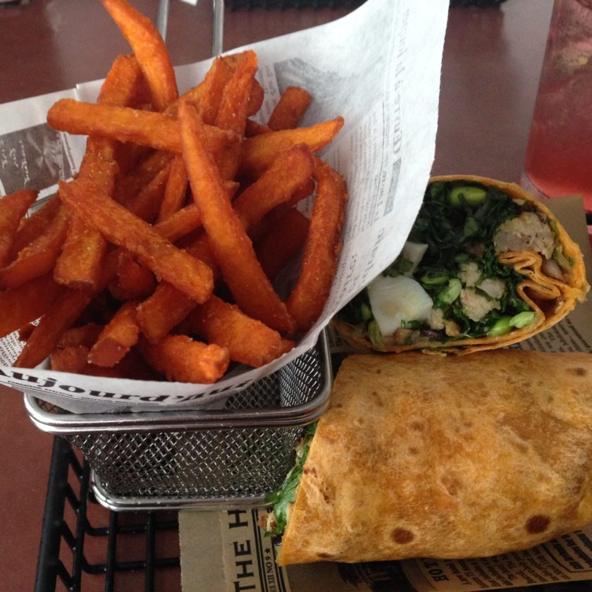 Ahi Tuna Wrap with Sweet Potatoe Fries