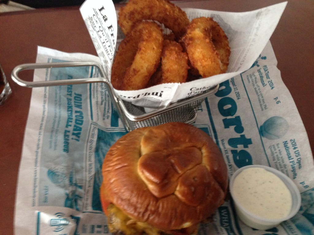 Pretzel Burger with Missy's Beer Battered Onion Rings