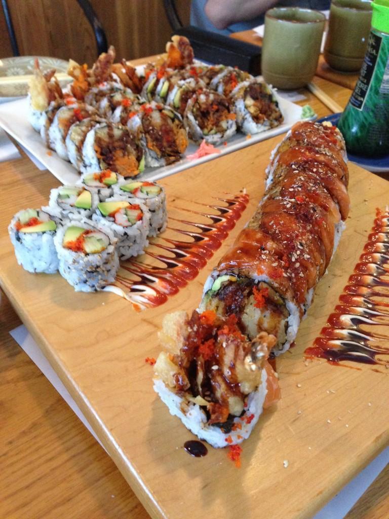 Sushi rolls at Yoko Japanese Restaurant - Unagi Dynamite Roll, Dynamite Roll, California Roll