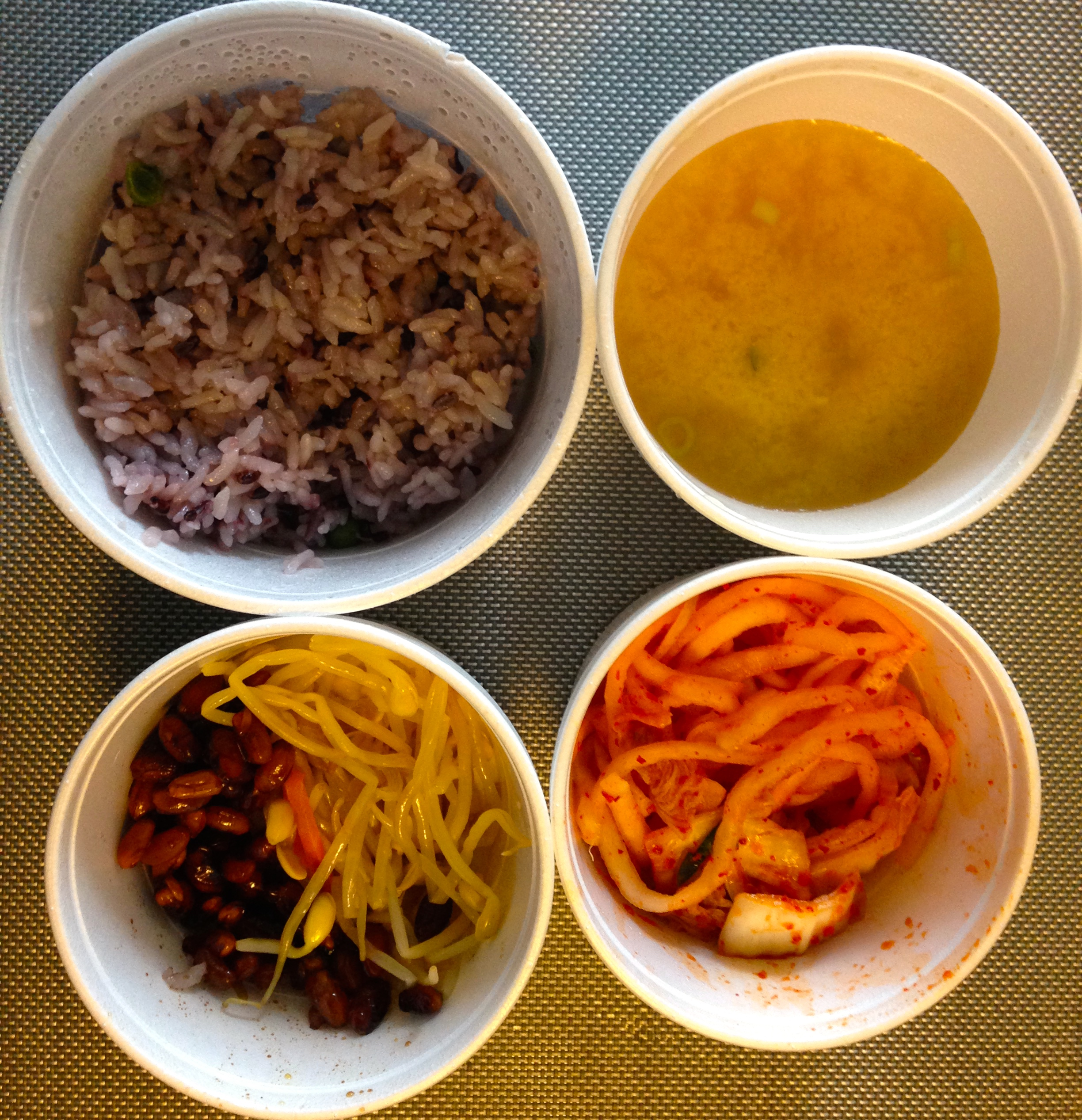 Kimchi, soup and side dishes from Buk Chang Dong Soon Tofu