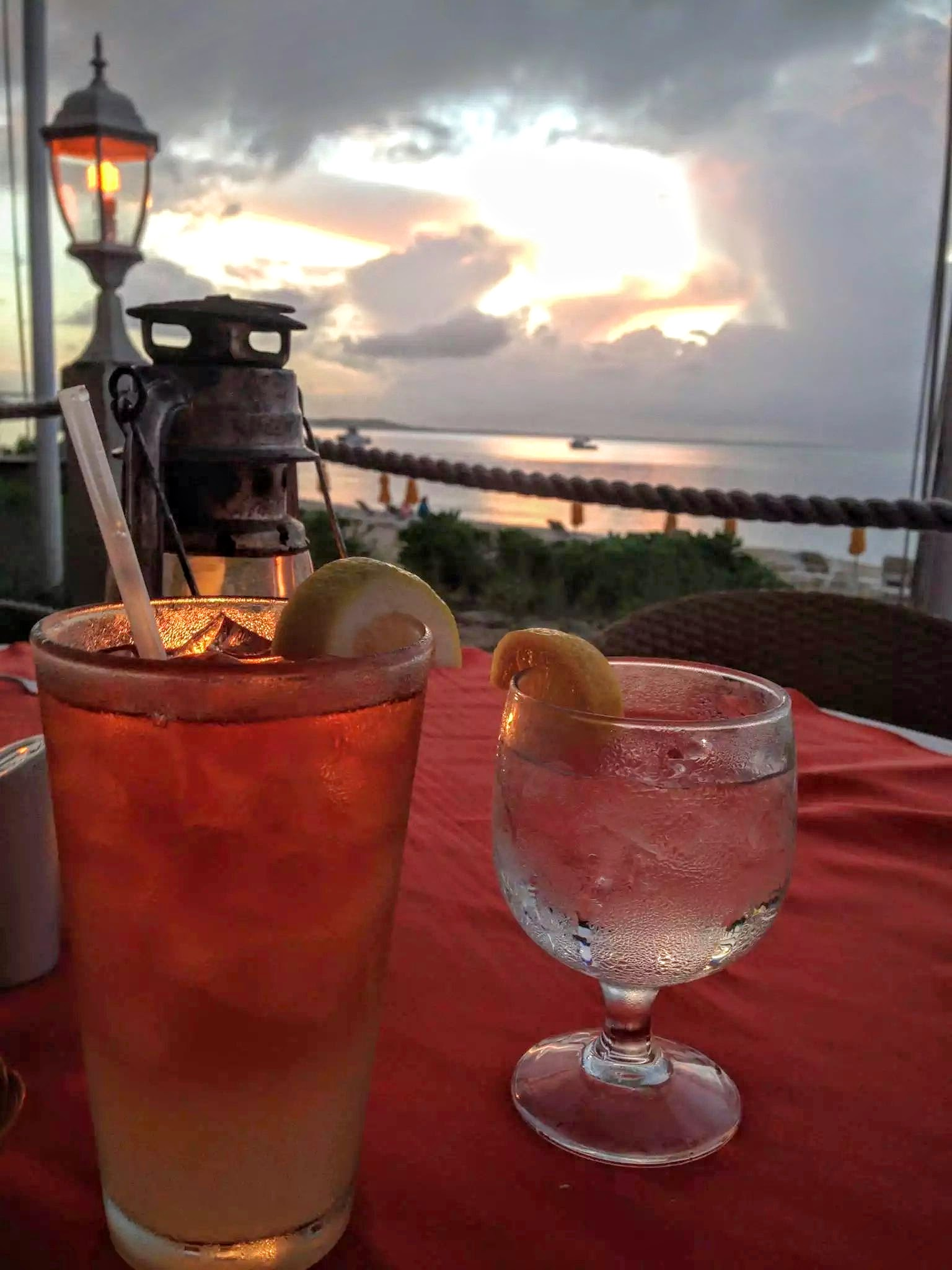 Sunset along the beach at Mango Reef Restaurant