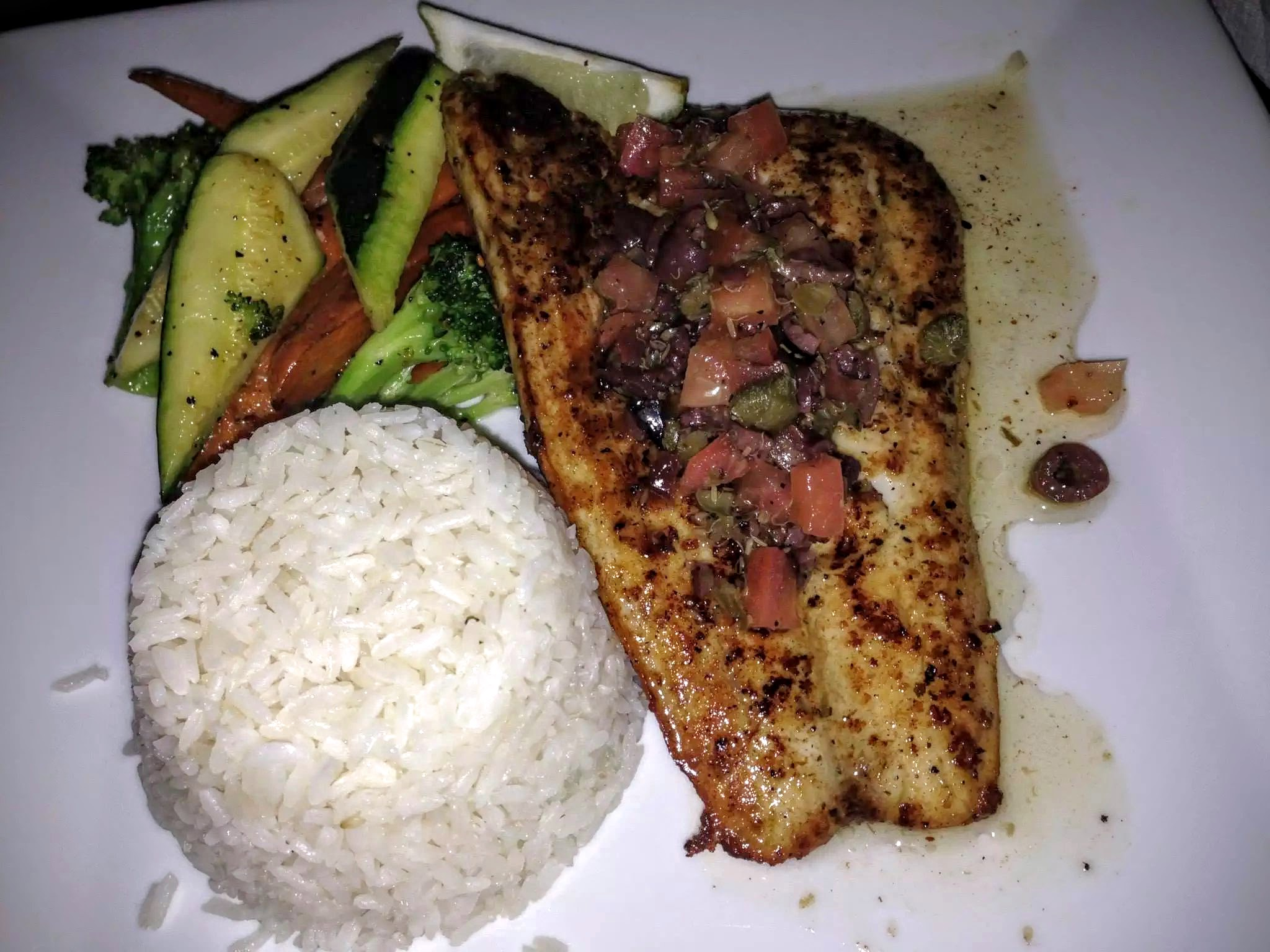 The Daily Catch - Pan Seared Fish, Basmati Rice with Sauteed Seasonal Vegetables