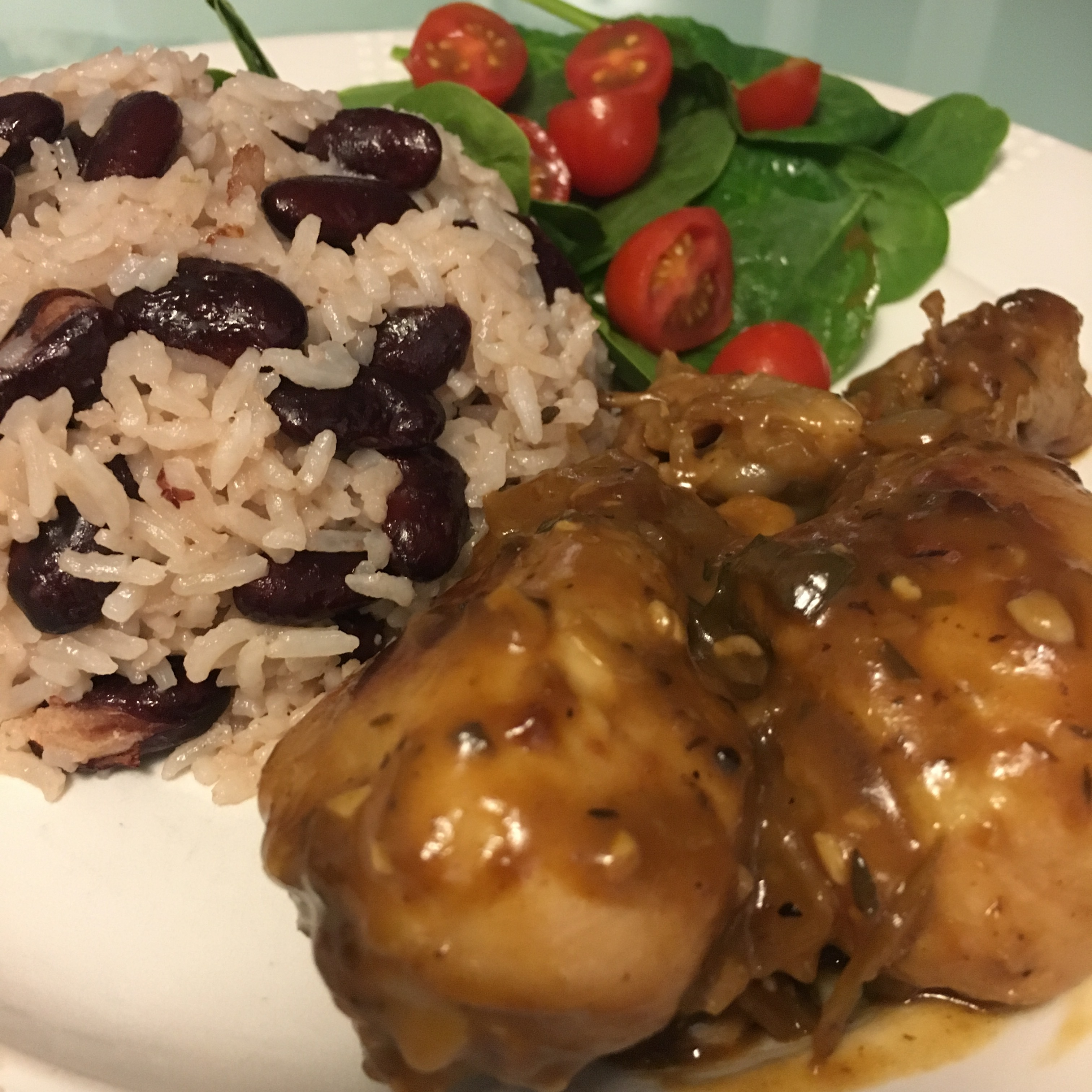 Fricassee Chicken with Rice and Peas - Jamaican Cuisine