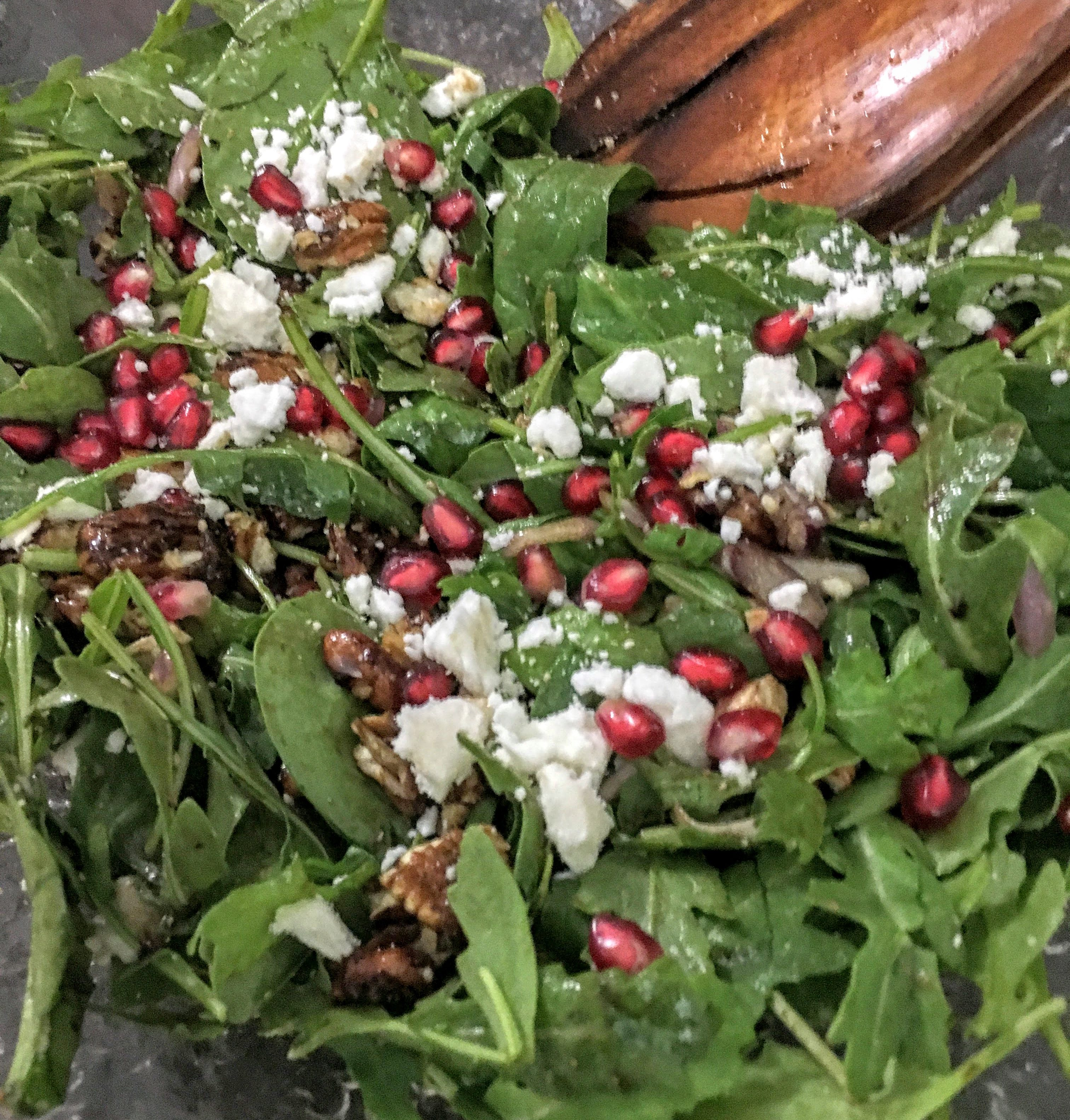 Pomegranate Spinach and Arugula Salad with Candied Pecans and Feta Cheese