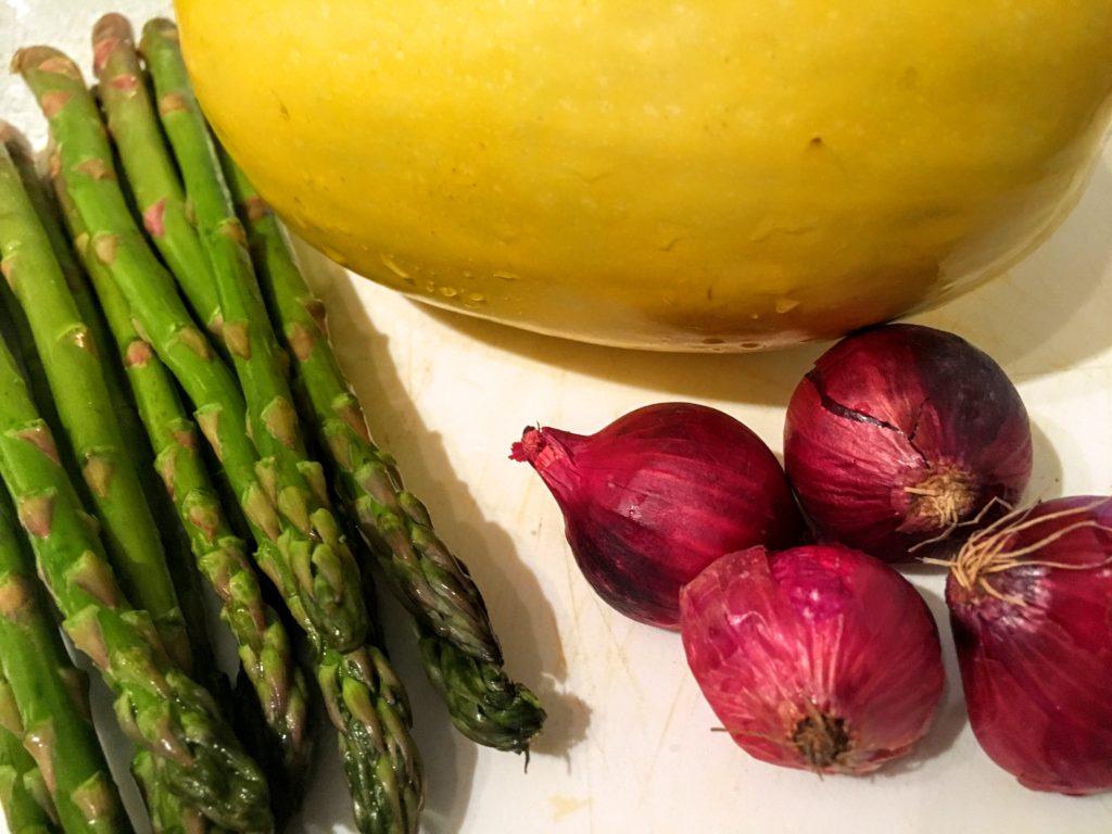 Spaghetti Squash, mini red pearl onions, asparagus
