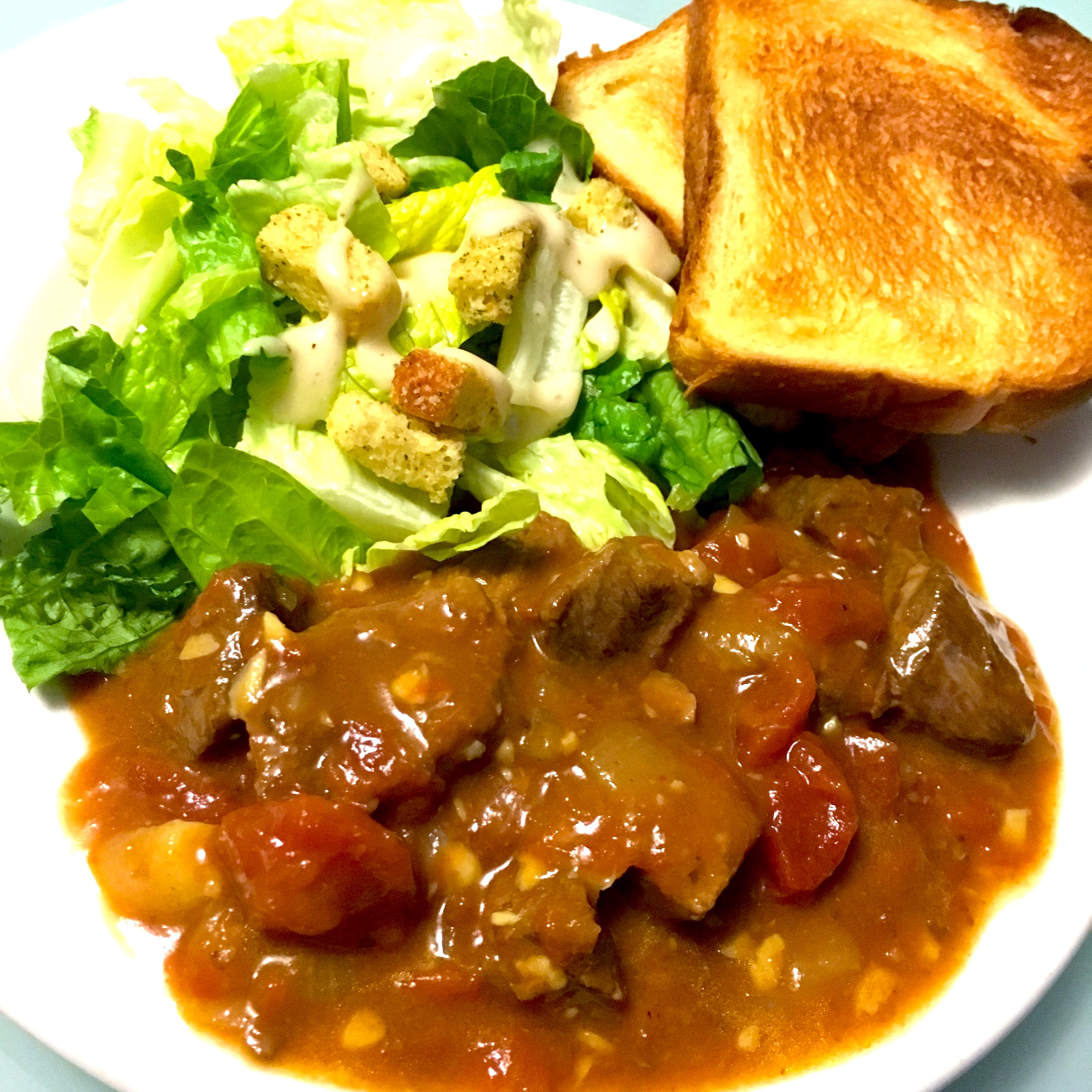 Red Curry Beef Stew with Caesar Salad and Egg Bread Toast