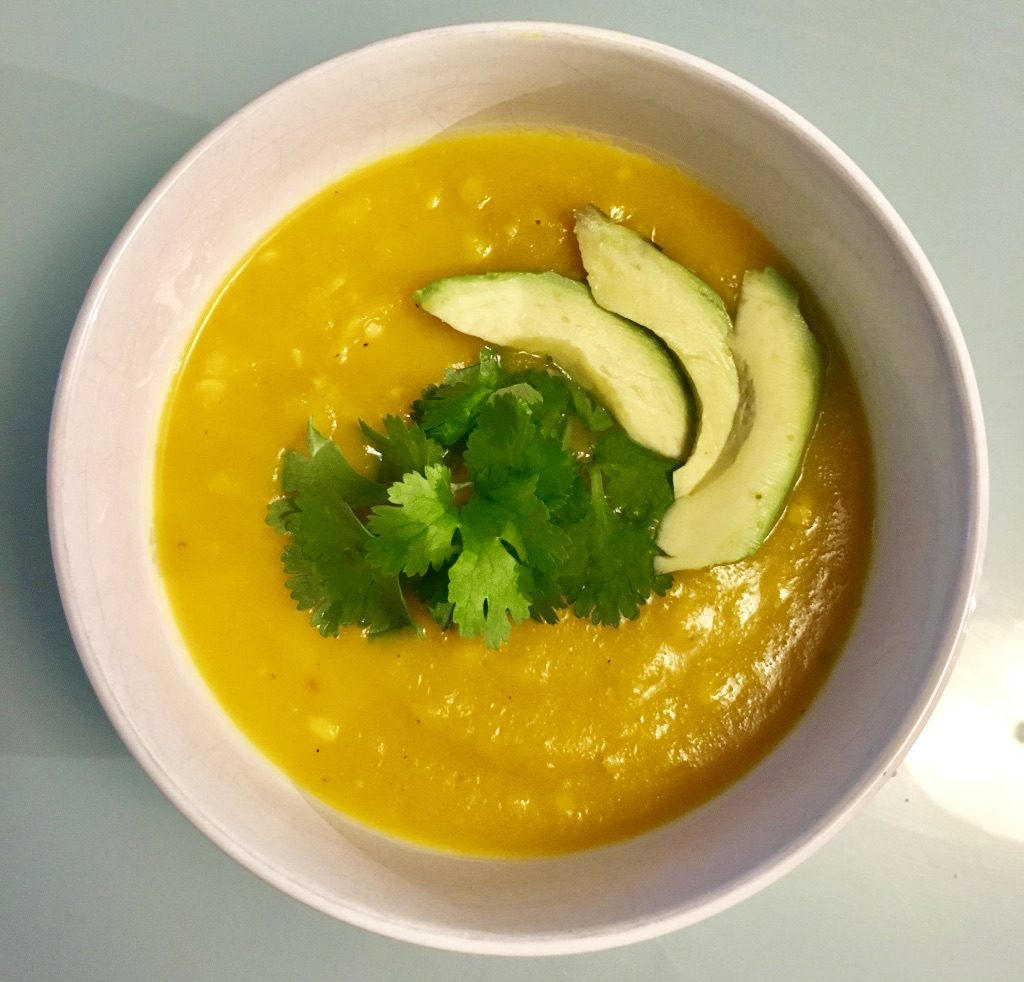 Butternut Squash Soup garnished with Cilantro and Avocado
