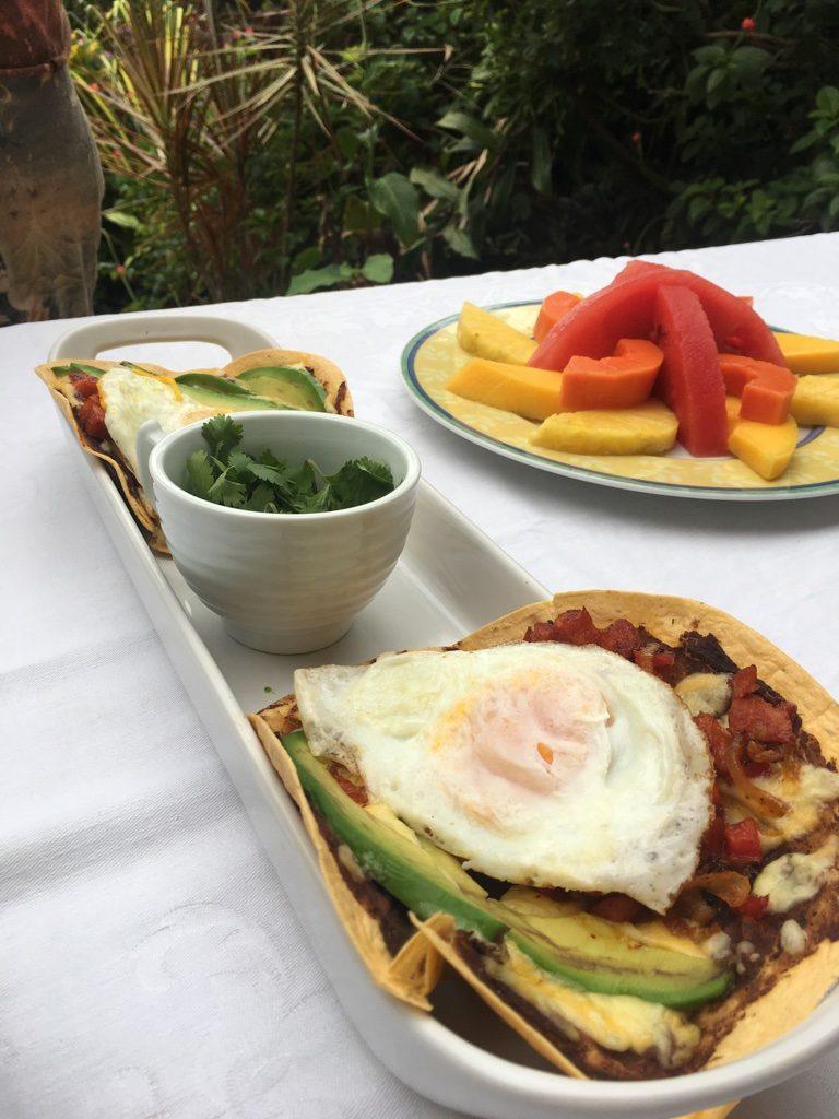 Breakfast Tacos with avocado, chorizo and fried egg