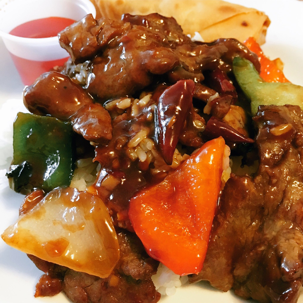 Sauteed Hunan Style Beef with Rice and Spring Roll