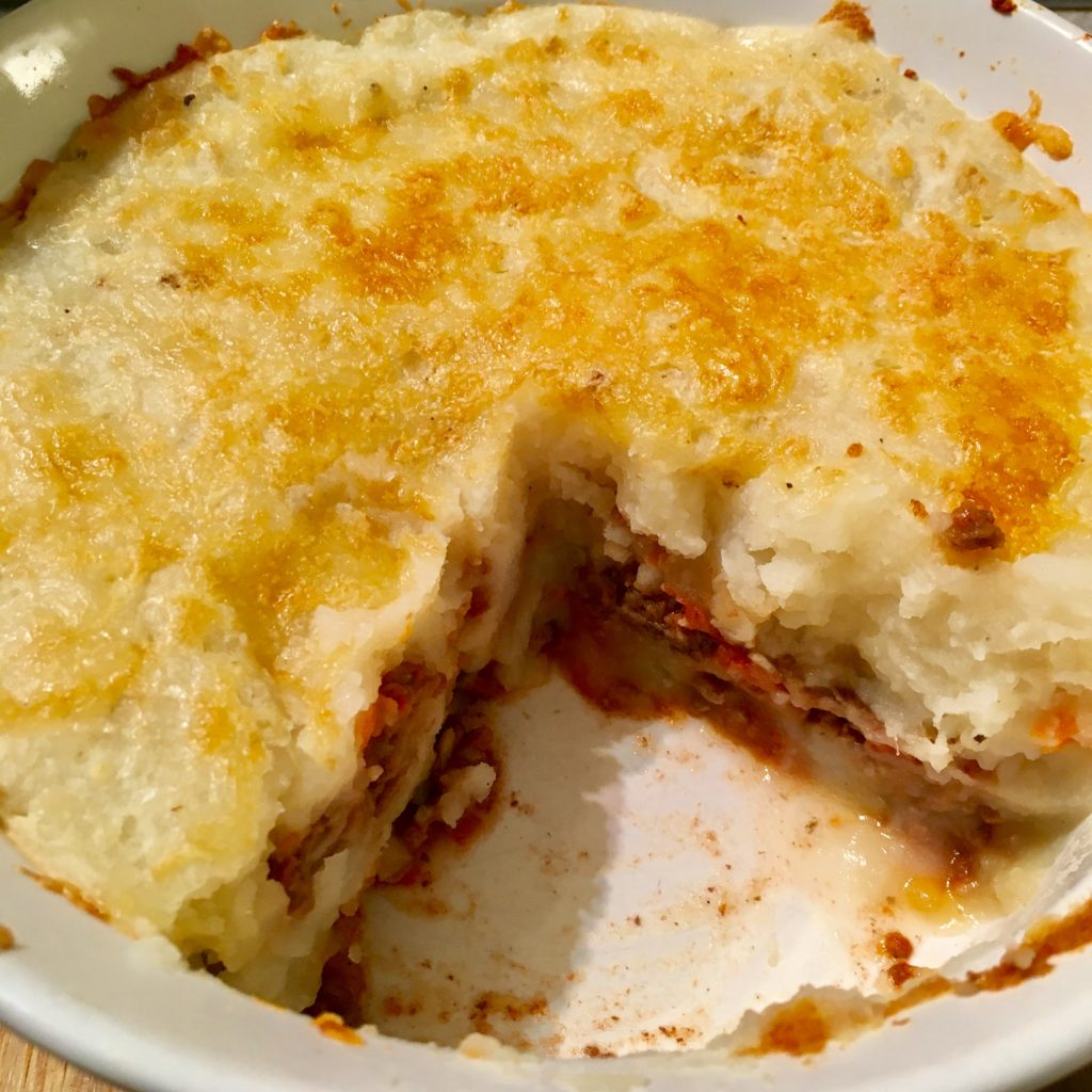Shepherd's Pie Topped with White Cheddar & Pancetta