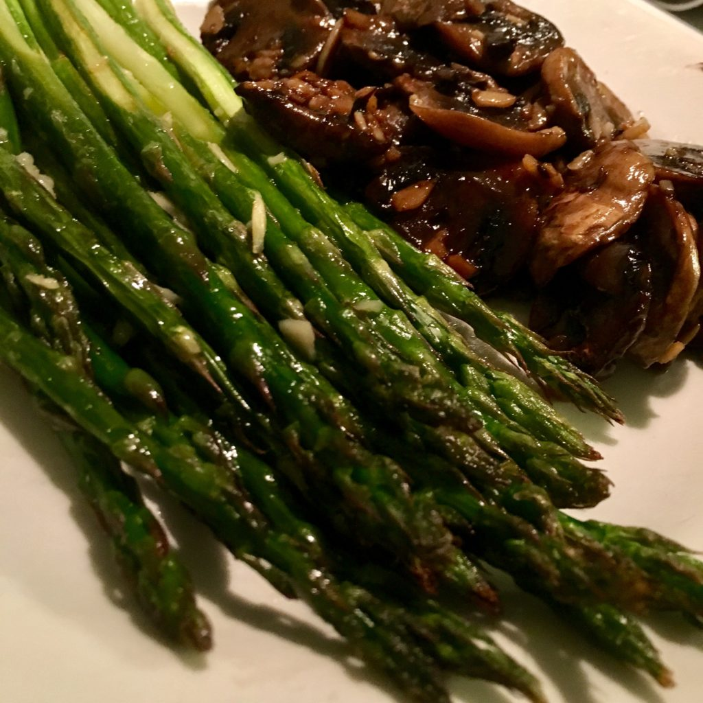 Lemon Garlic Asparagus and Balsamic Vinegar Garlic Mushrooms