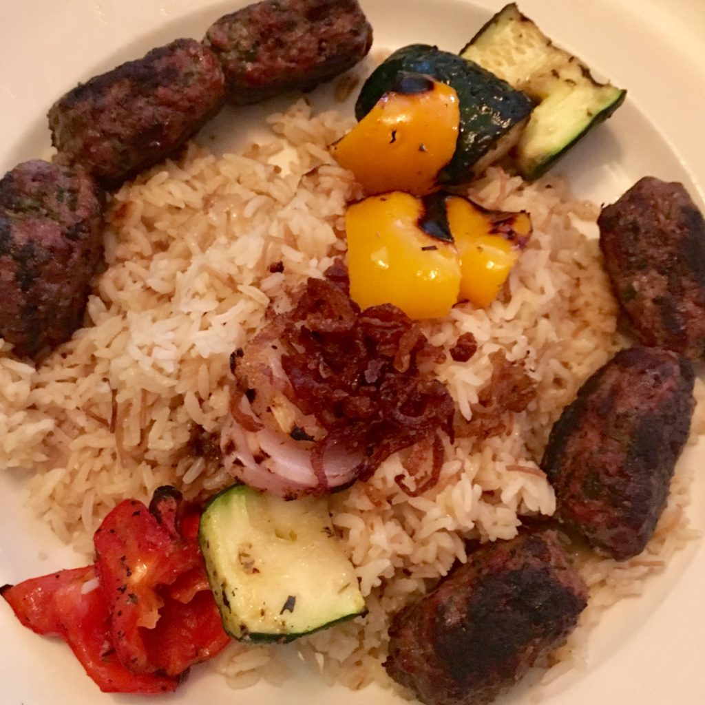 Kefta with rice and vegetables