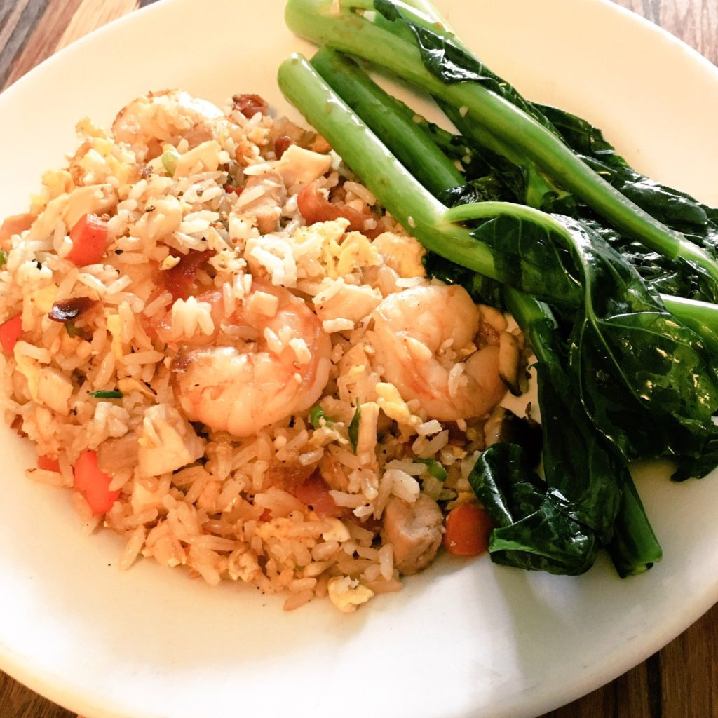 Shrimp, Chicken, Pork and Pancetta Fried Rice with Gai Lan