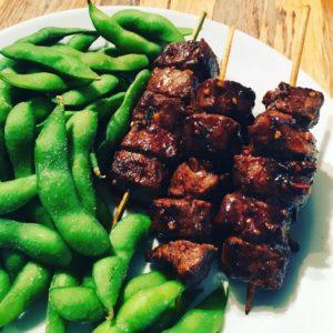 Japanese Beef Skewers (Kushiyaki) with Edamame
