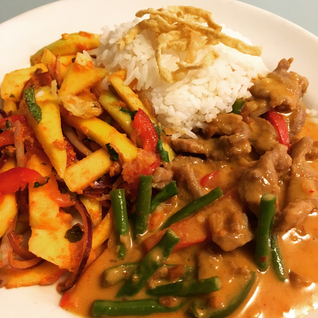 Panaeng Curry with Mango Salad and Coconut Rice