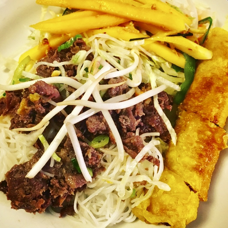 Grilled Beef and Spring Roll with Mango Salad