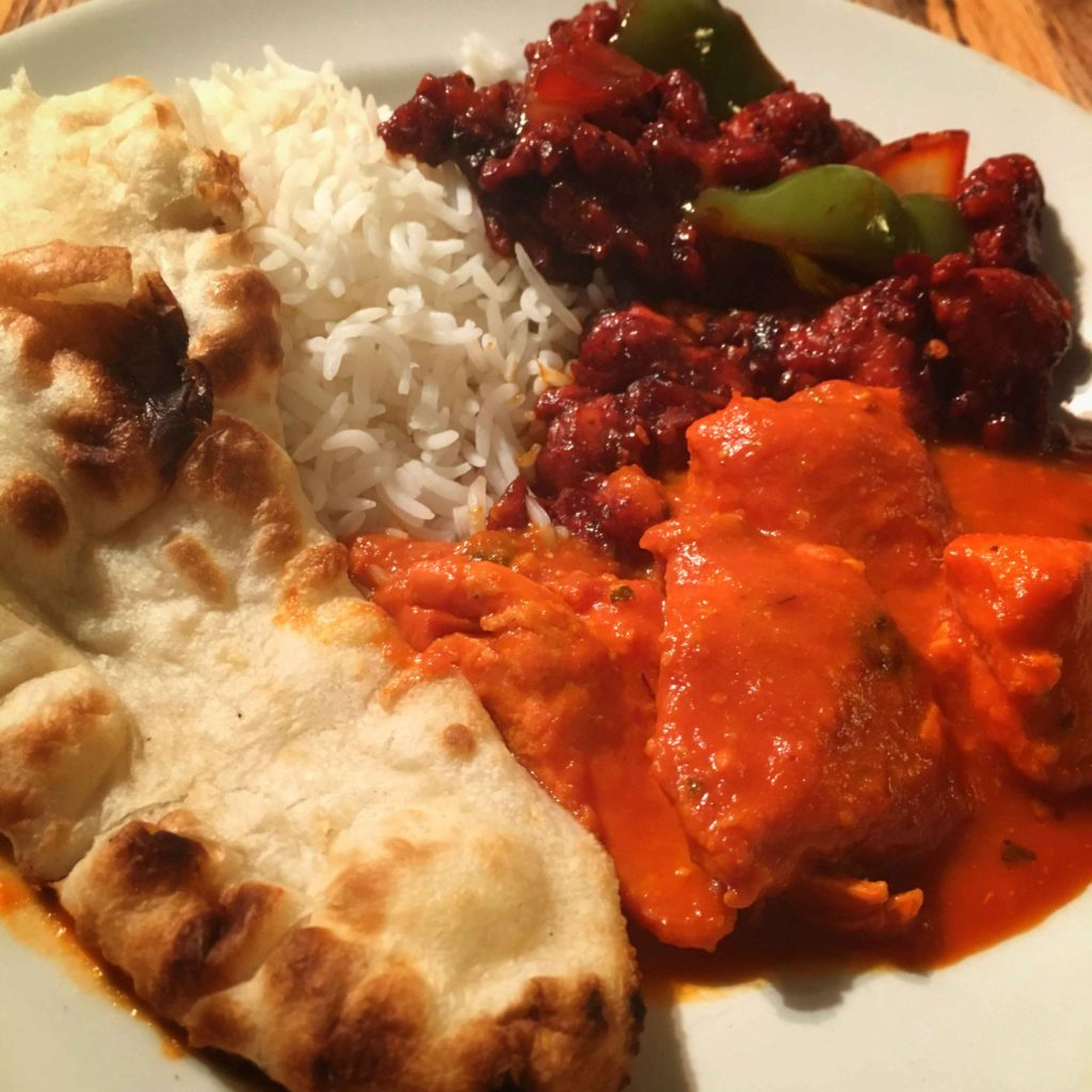 Butter Chicken and Chilli Chicken with Garlic Naan and Basmati Rice