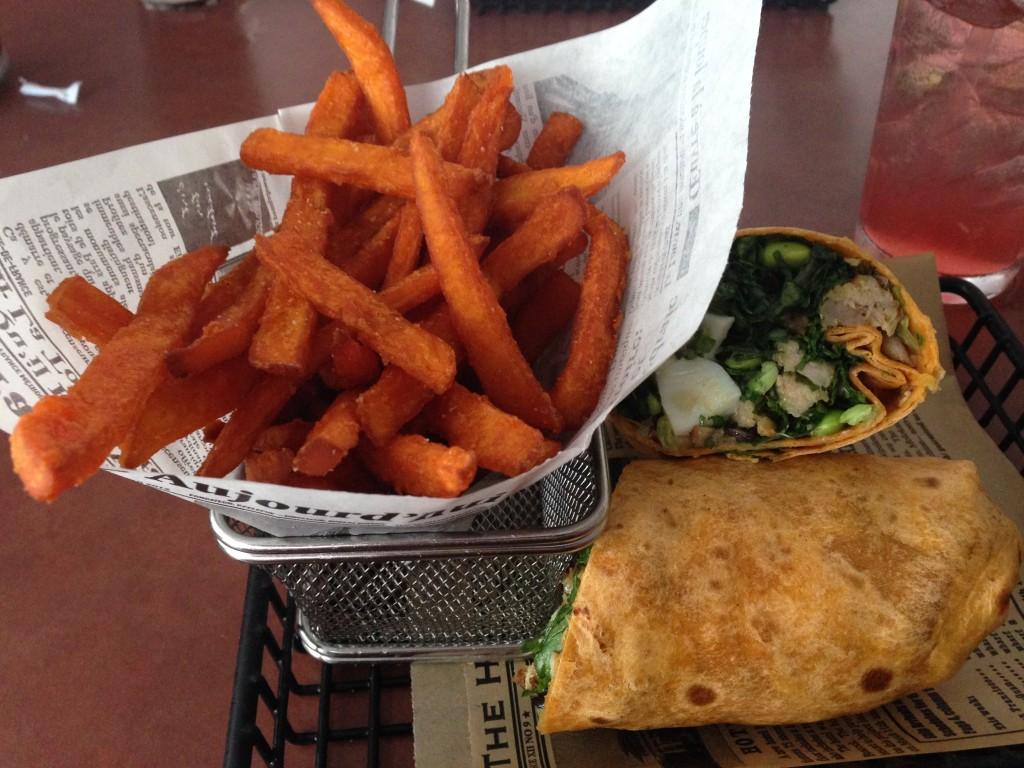 Ahi Tuna Wrap with Sweet Potatoe Fries