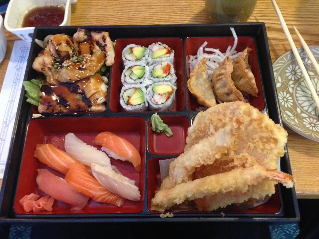 Bento box - Teriyaki Chicken, Gyoza, Tempura and Sushi