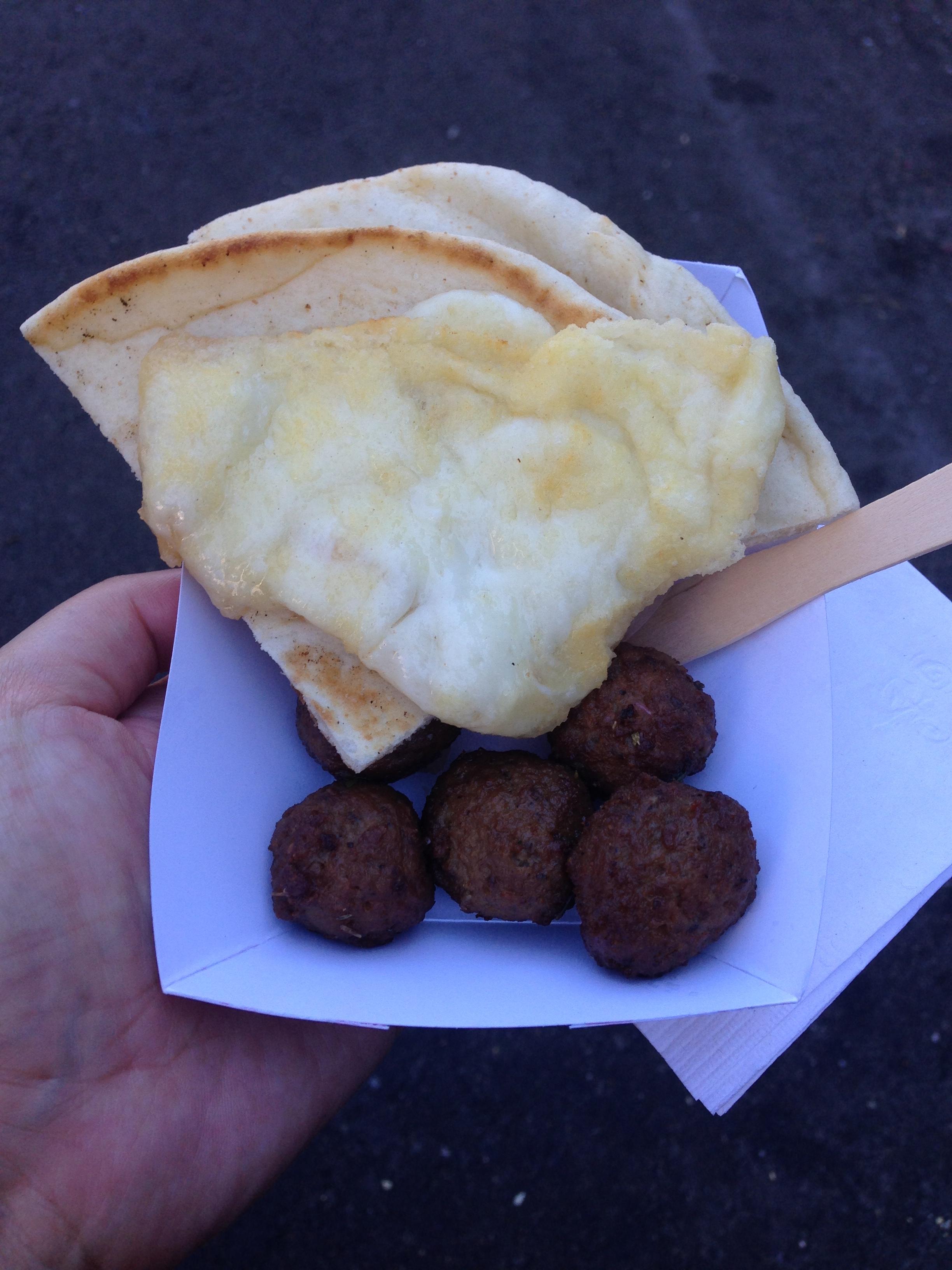 Saganaki and Meatballs at Taste of the Danforth