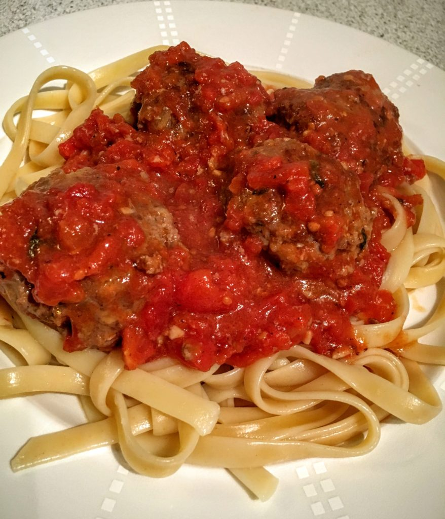 Linguine and Meatballs with Homemade Tomato Sauce
