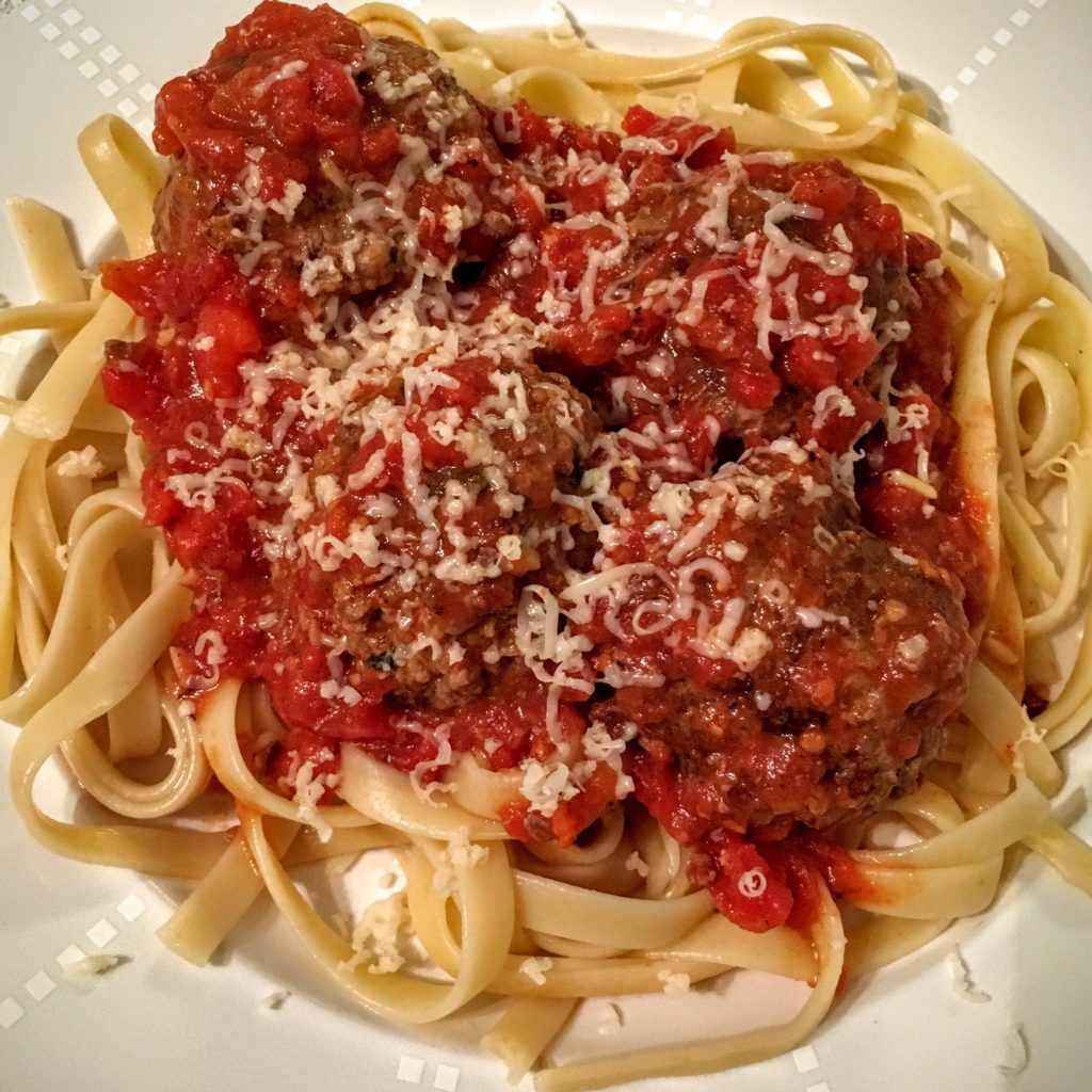Linguine and Meatballs with Homemade Tomato Sauce and Parmesan Cheese