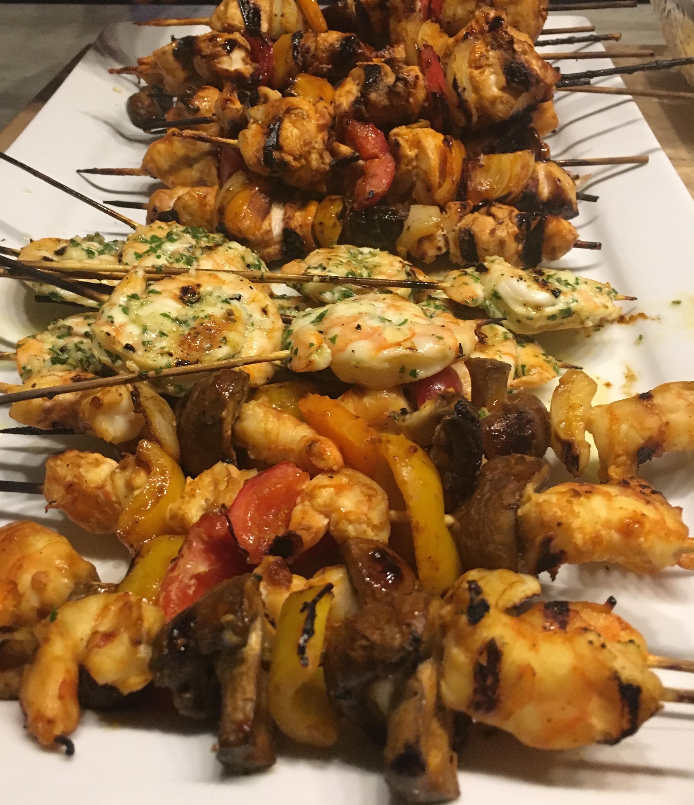 BBQ Kebobs - Shrimp, Chicken, Vegetables