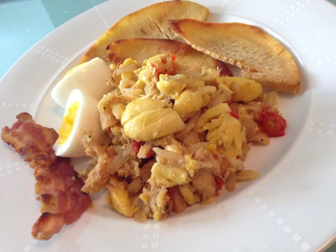 Ackee and Saltfish with Breadfruit, Bacon and Egg