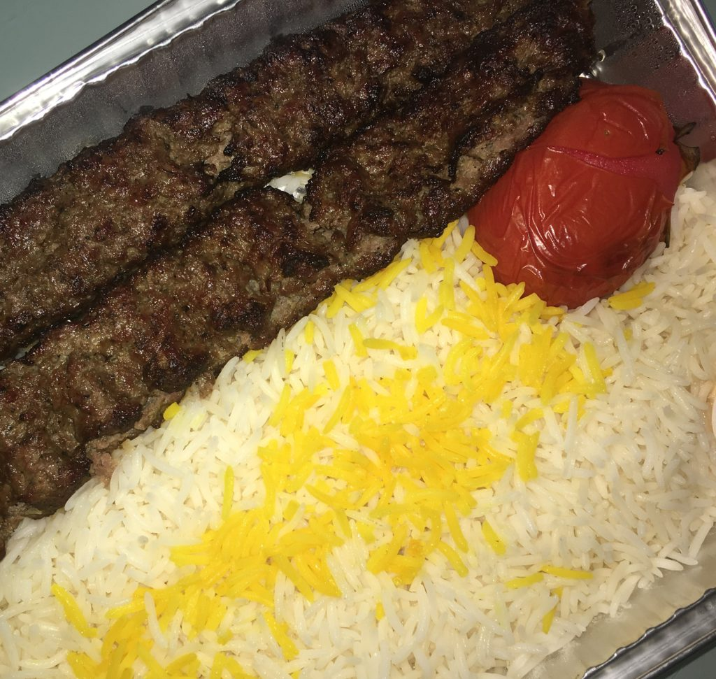 Koobideh Kebab - Two skewers of chef's lamb and beef special ground mix, basmati rice and grilled tomato (takeout)