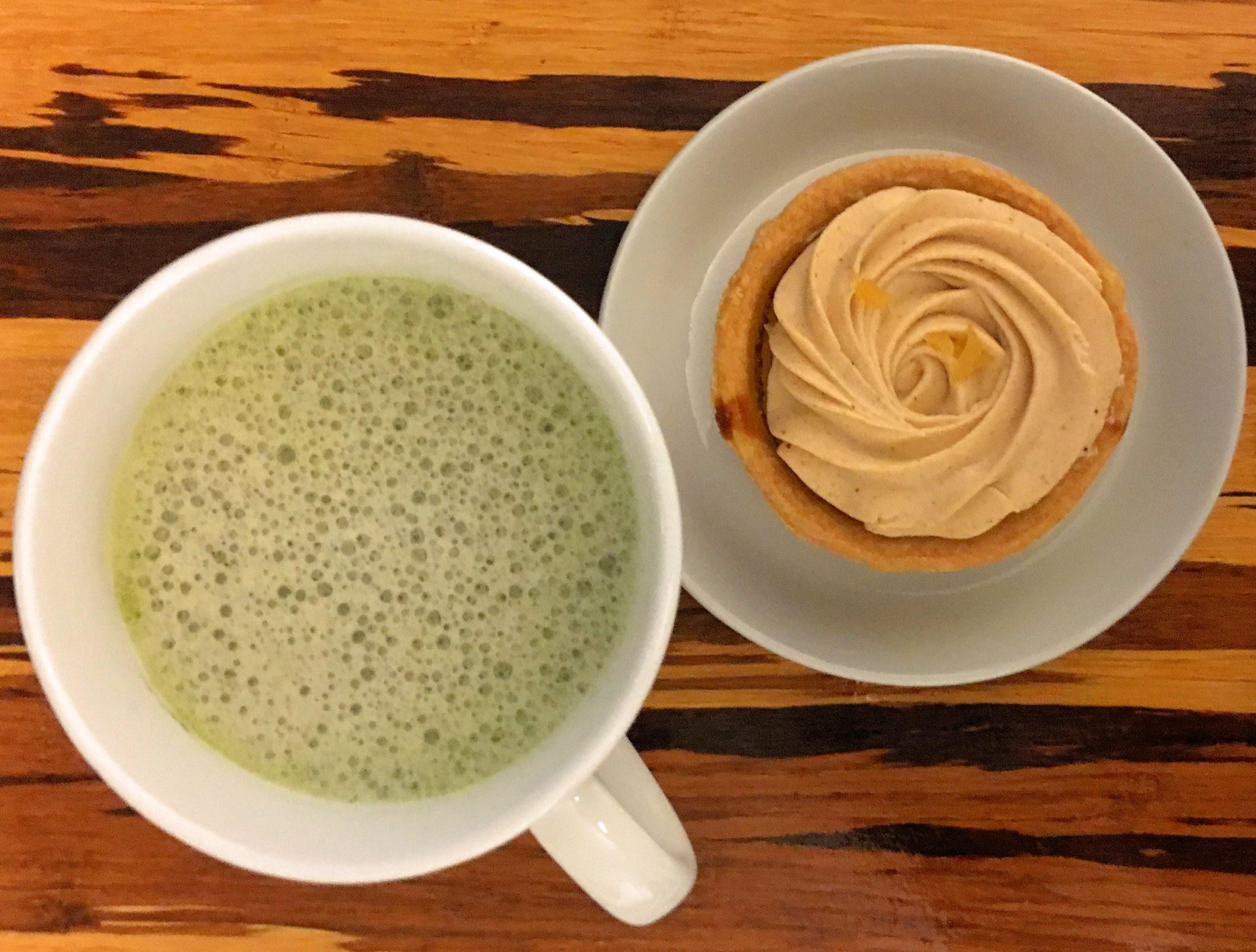 Matcha Tea Latte and Pumpkin Tart