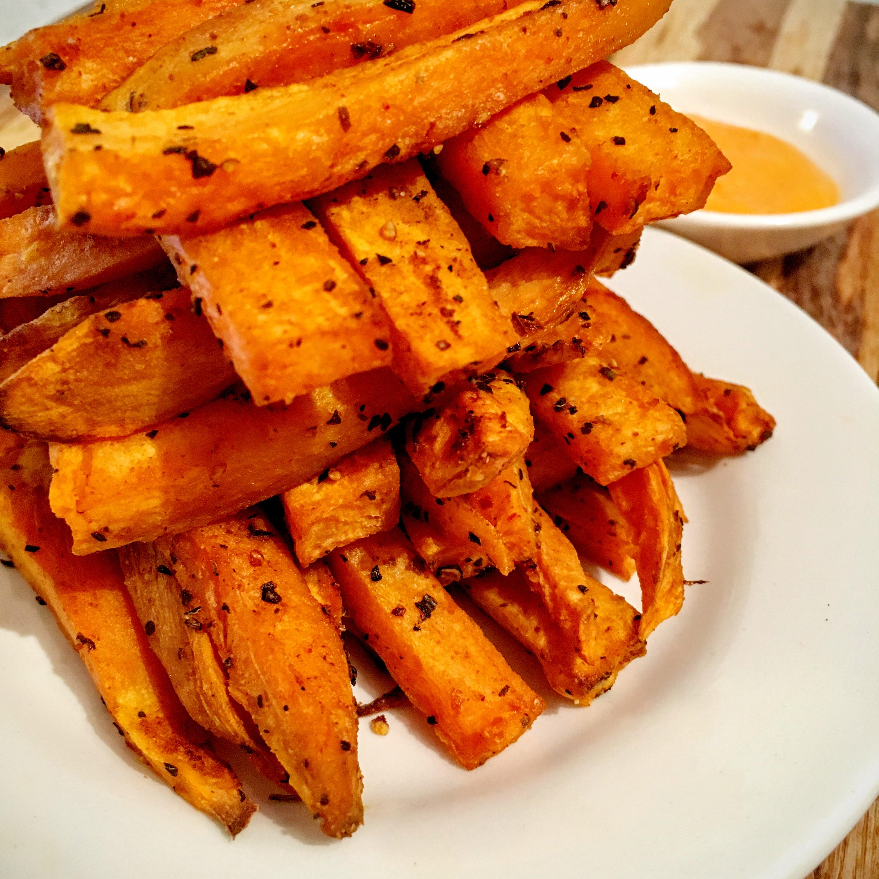 Sweet Potato Fries - baked with sriracha mayonnaise dip