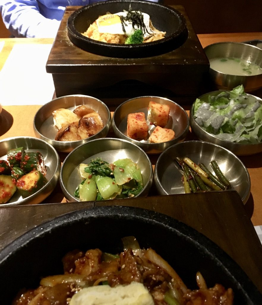 Korean Side Dishes (Banchan) and Hot Stone Kimchi Fried Rice