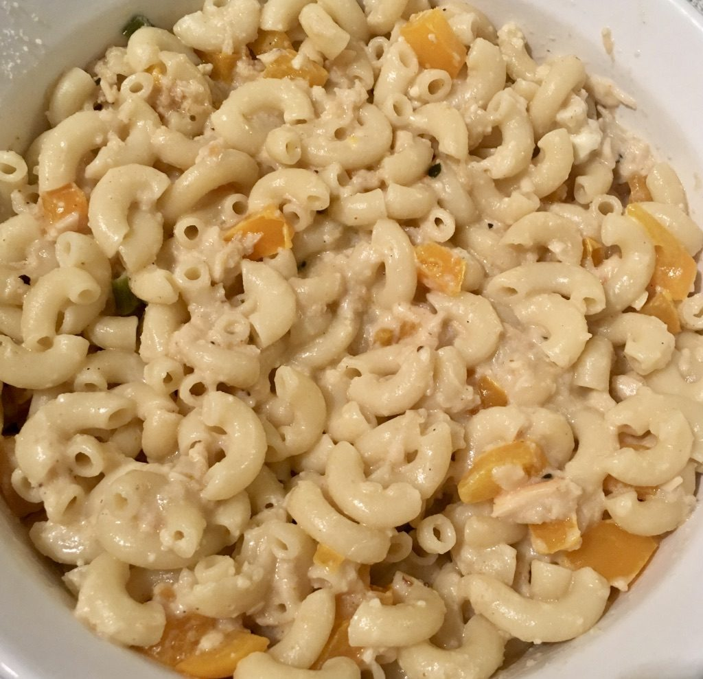 Macaroni and Cheese with Crab Meat in Casserole - Green Onion, Garlic, Basil, Yellow Sweet Pepper, Parmesan Cheese, White Cheddar and Laughing Cow Cheese
