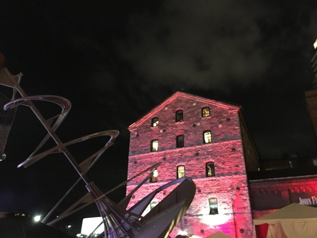 Art piece in centre of The Distillery District