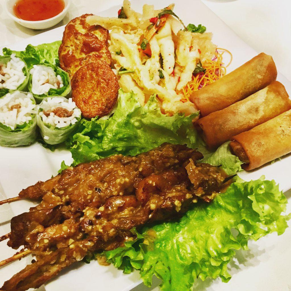 Thai Platter - Spring Rolls, Fish Cakes, Chicken Satay and Chicken Feet