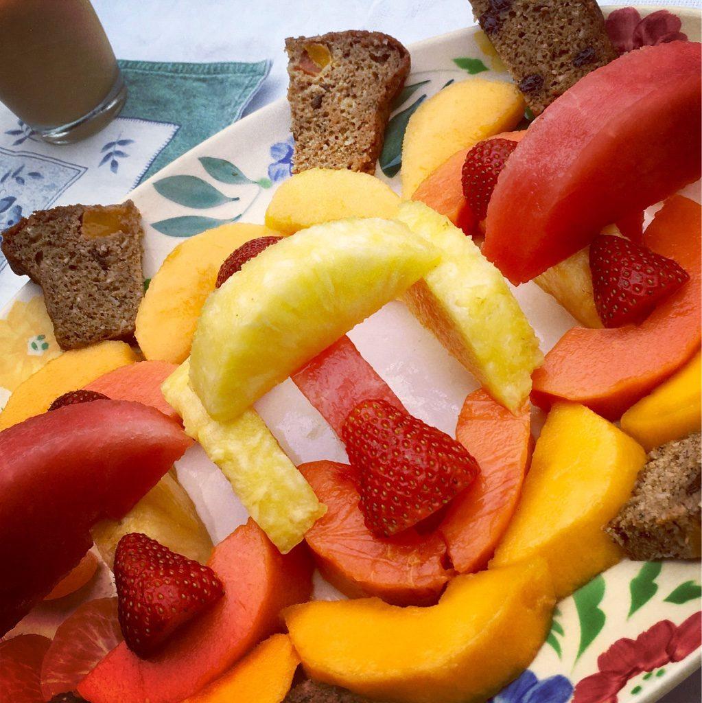 Fruit bread and Fresh Fruit Platter