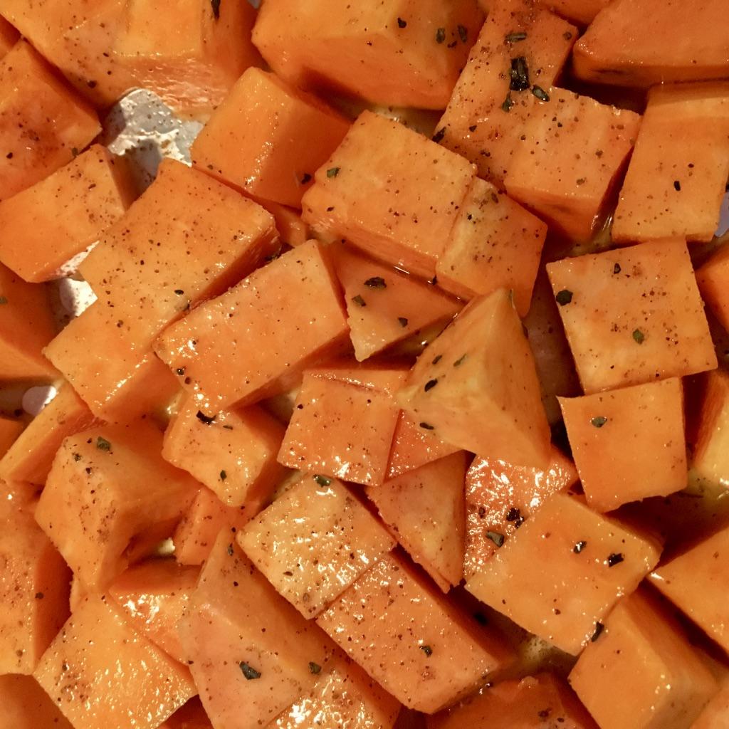 Sweet Potato bites on baking sheet