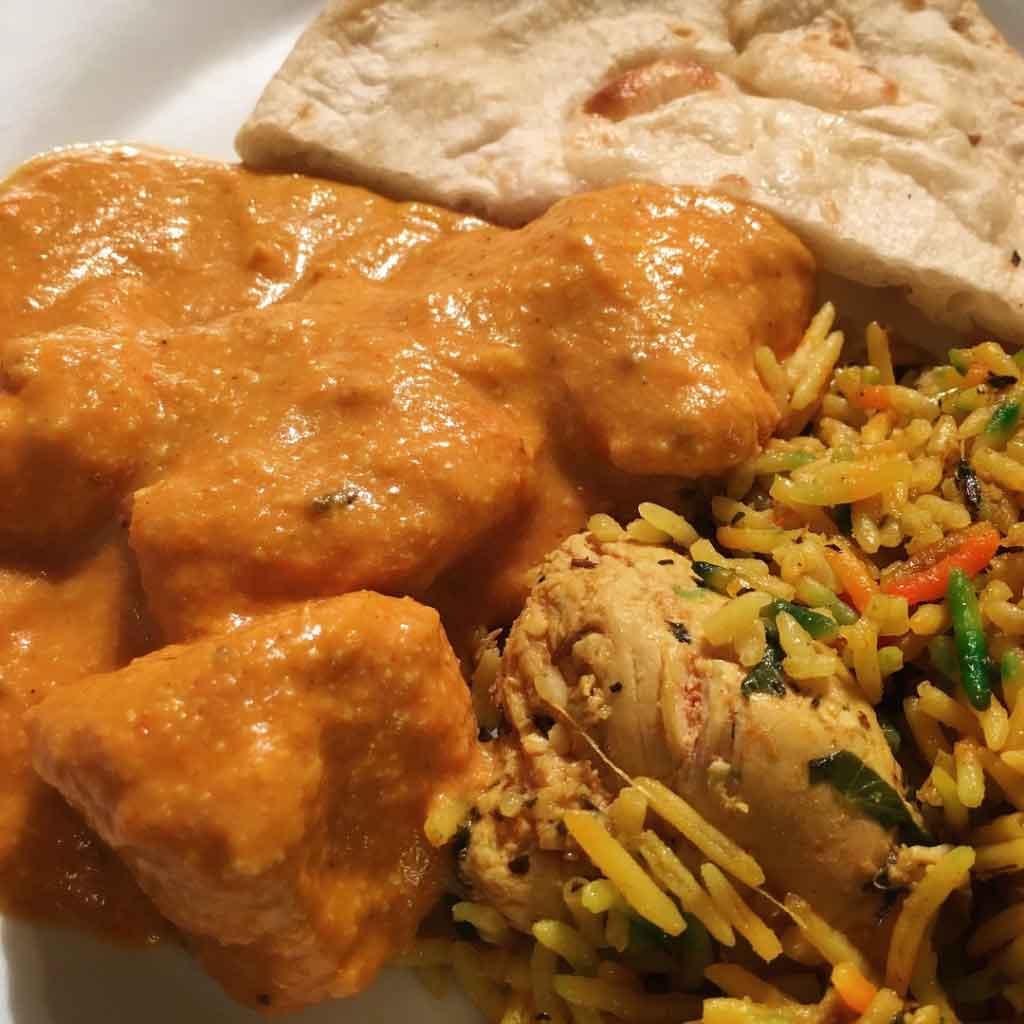 Chicken Korma with Biryani and Naan