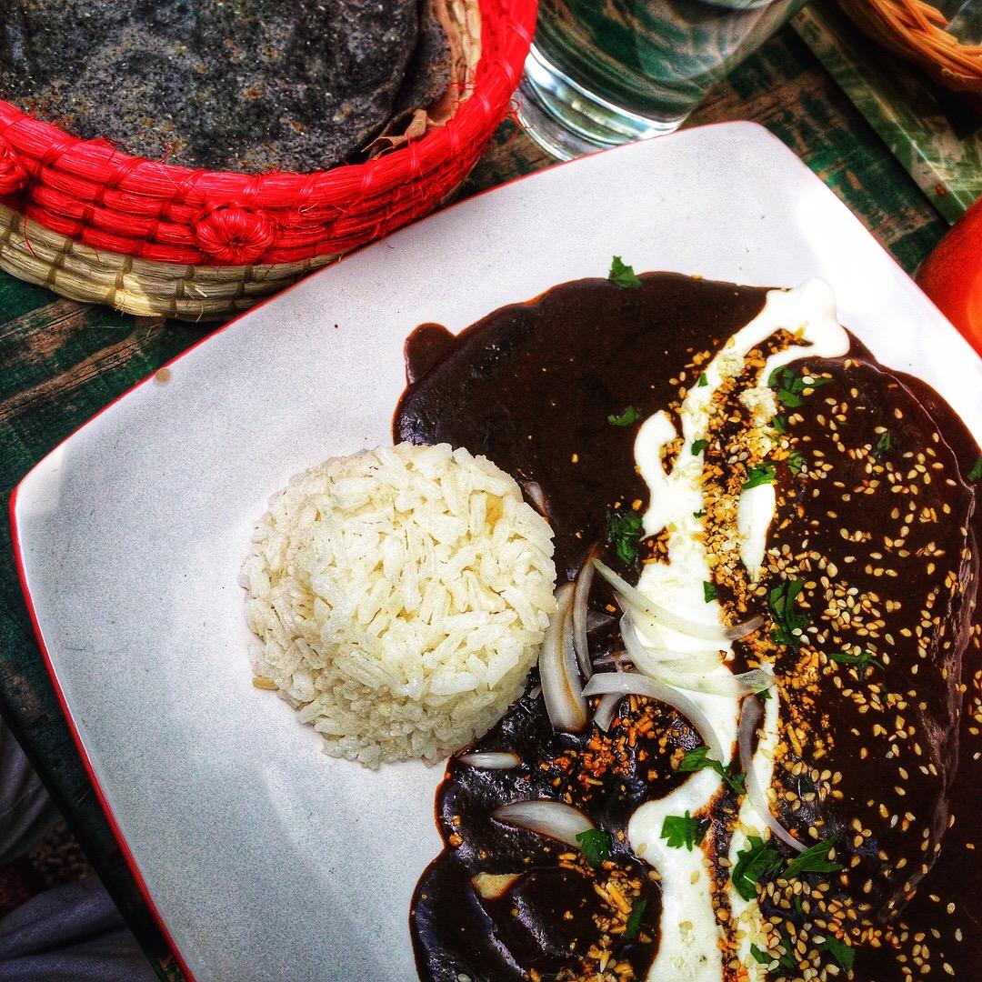 El Apapacho - Chicken Mole with Blue Corn Tortillas